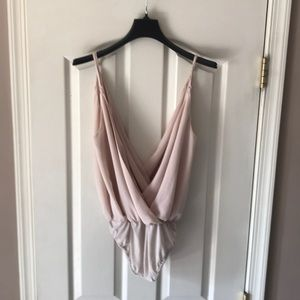 Women's Tobi nude low cut bodysuit top Medium